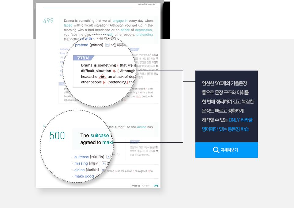 엄선한 500개 기출문장 통으로 문장 구조와 어휘를 한 번에 학습하는 통문장 학습